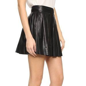 Alice & Olivia Black Box Pleat Leather Skirt 8